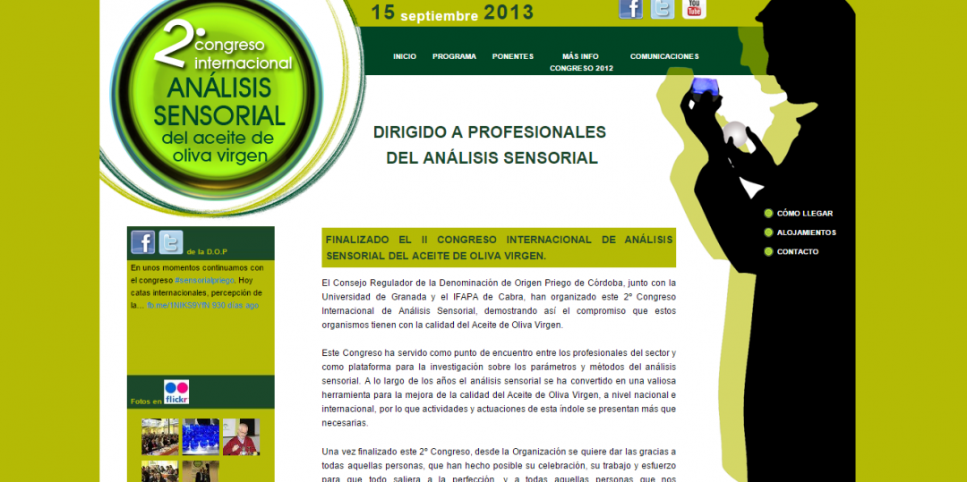 Programación Página web para el Congreso Internacional de Análisis Sensorial