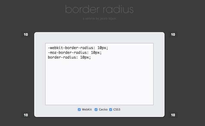 Código generador online border radius