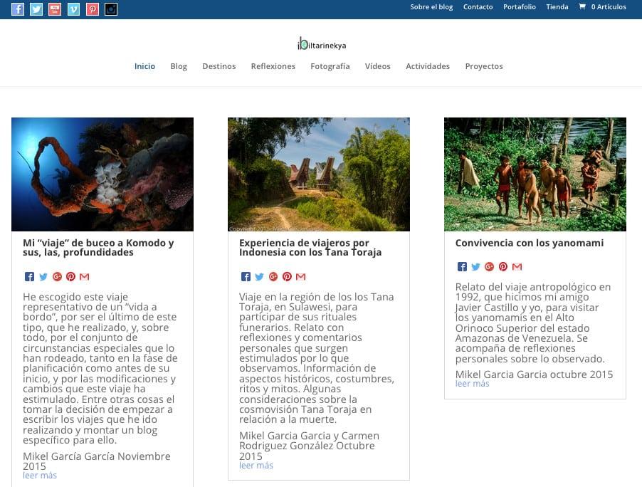 Programación Blog de Viajes y Tienda online Ibiltarinekya