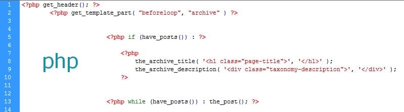 Código php en widget
