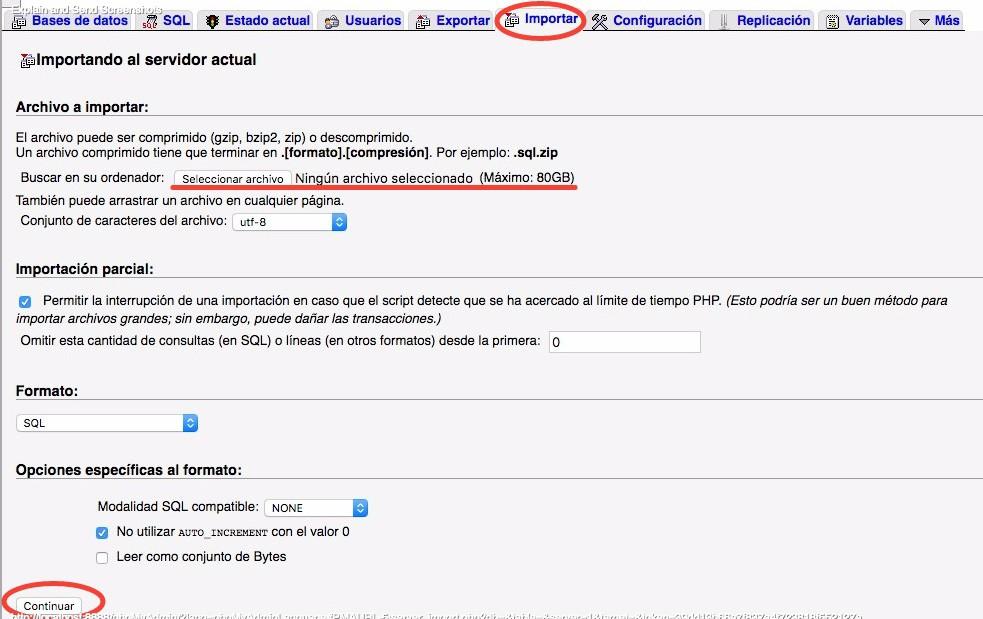 phpMyAdmin importar una base de datos grande
