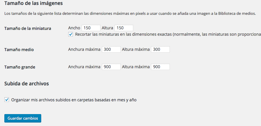 Ajustes >> Medios