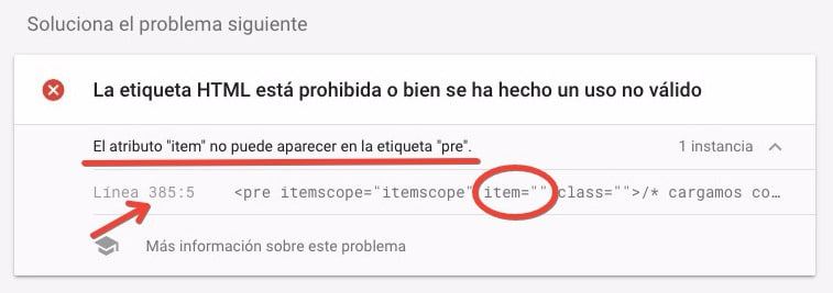 correccion AMP Search Console