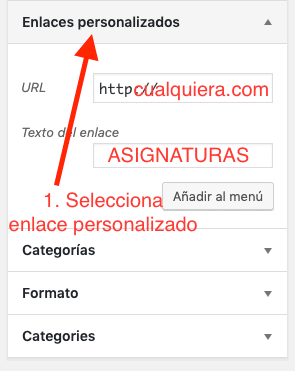 Crear enlaces personalizados WP