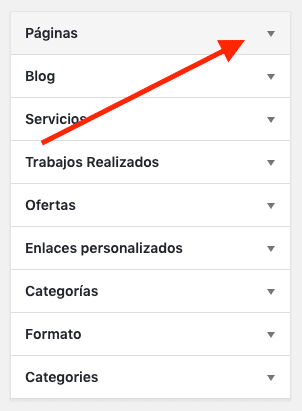 Crear menú WordPress