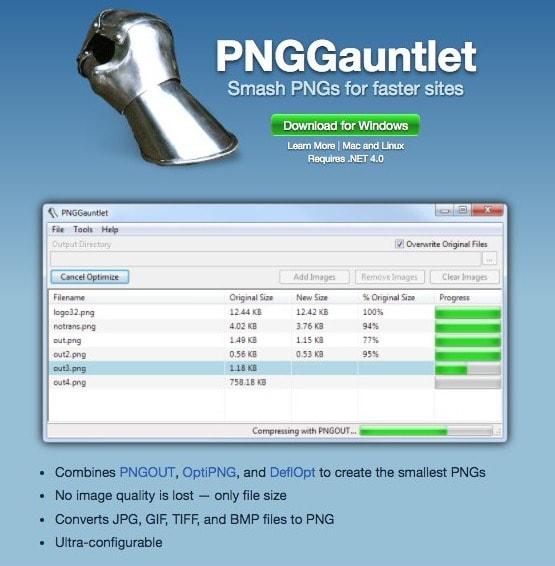PNGGauntlet-Software comprimir imágenes